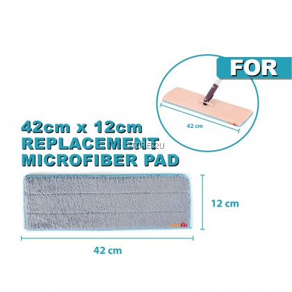 1pc [42cm x 12cm] Replacement Microfiber Mop Head Refill Pad for 42cm Hands Free Wash Lazy Flat Floor Mops Kain