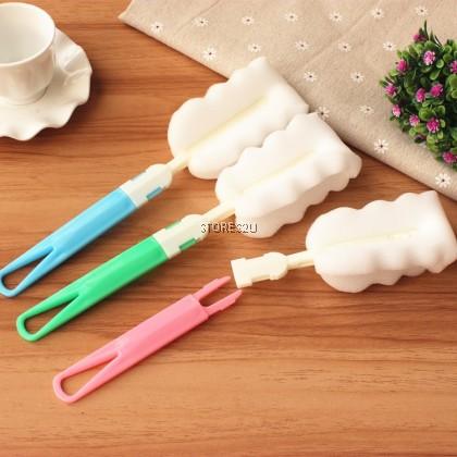 Sponge Cleaning Brush Vacuum Cup Cleaning Detachable Handle Brush Berus Span Pembersih Cawan (Blue / Pink/ Green)